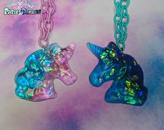 iridescent  unicorn pony necklace Pastel Goth, Soft Grunge, kawaii,soft grunge, lolita,harajuku,Fairy kei,