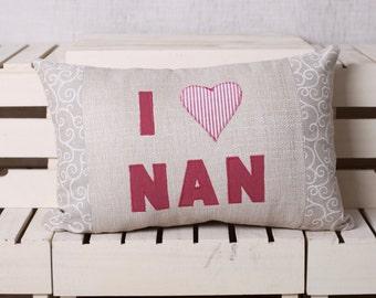 I love Nan, I heart Nan, cushion, pillow, 18 x 12 Inch