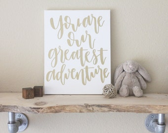 "11""x14"" calligraphy nursery canvas no. 1 // you are our greatest adventure"
