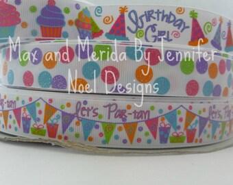 US Designer Birthday Girl Ribbon, PDRS Ribbon, First Birthday Ribbon, Grosgrain Printed Ribbon, Glitter Print Ribbon, Birthday Party Ribbon