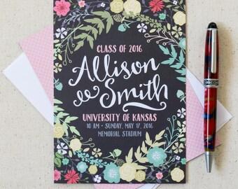 Graduation Announcements High School Graduation College Graduation Invitation Spring Floral Rustic Fun Script Font Modern Class of 2016 Grad