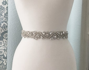 Bridal Sash, Wedding Dress Belt, Rhinestone Bridal Sash, Crystal Sash Belt, Wedding Dress Belt, Bridal Sash Belt 8833