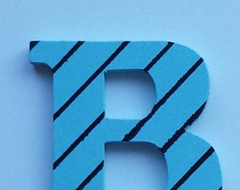 """Hand Painted Light Blue With Black Stripes Wood Letter """"B"""" Initial"""