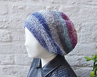 Slouchy crochet beanie - silk and wool slouchy hat - grey, blue, pink - READY TO SHIP