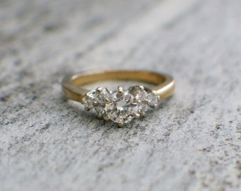 Vintage Two Tone Diamond Engagement Ring