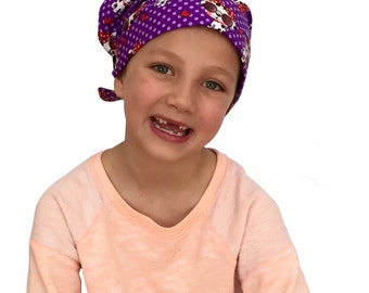 Mia Children's Head Cover, Girl's Cancer Headwear, Chemo Scarf, Alopecia Hat, Head Wrap, Cancer Gift for Hair Loss - Purple Puppies