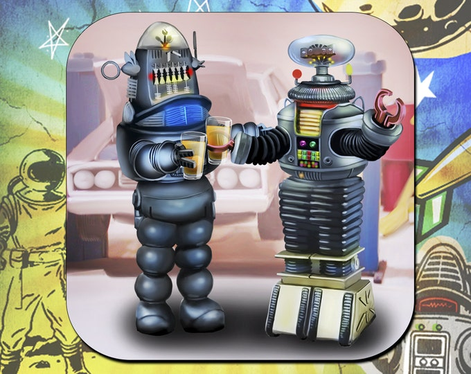 Lost in Space B9 Robot / Forbidden Planet Robbie the Robot Coasters