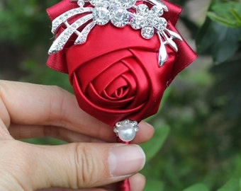 Red Rose Boutonniere  - Available in different colors