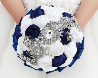 Wedding Bouquet, Bridal Bouquet - Roses Pearls Crystals (Blue/White)
