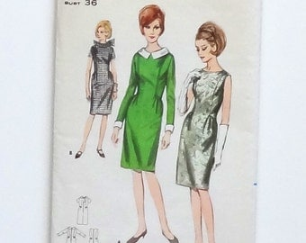Vintage 60's Butterick Semi-Fitted One-Piece Dress Sewing Pattern #3762 - Misses Size 16 (Bust 36 - Waist 28 - Hip 36)
