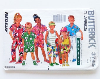 Vintage Butterick Toddler Shorts, Pants, Shirt & Tank Top Sewing Pattern #3745 - Size 1 (Chest 20)+ 2(Chest 21) + 3(Chest 22) - UNCUT F/F