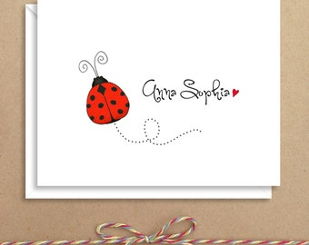 Ladybug Note Cards - Folded Note Cards - Personalized Children's Stationery - Thank You Notes - Illustrated Note Cards