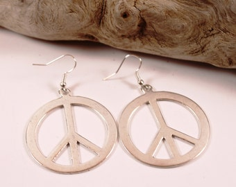 Large Peace Sign Silver Tone Earrings