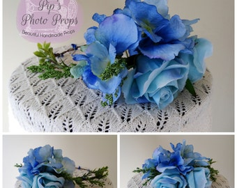 Baby Blue Rose Wreath - Adult size