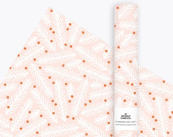 Wrapping Paper - Pine & Holly in Pink