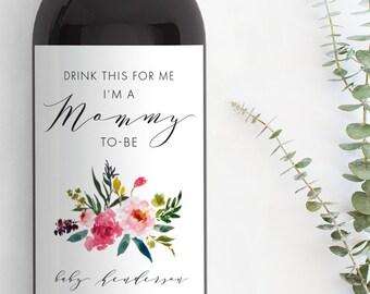 Pregnancy Announcement Wine Bottle Label, Custom Wine Label,  Baby Shower Favor, Pregnancy Announcement Ideas, Pregnancy Reveal