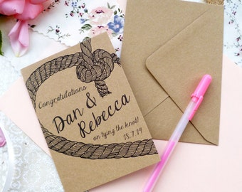 A6 Kraft Personalised Congratulations on 'tying the knot' card
