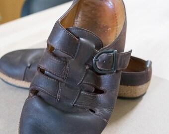 Vintage Haflinger Brown Leather Mules, Ladies Size 7