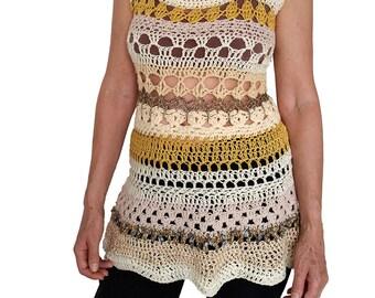 Yellow crochet top - summer top - yellow top - sleeveless top - crochet blouse