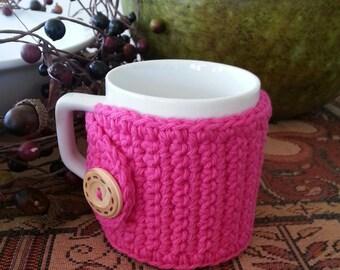 Hot Pink Coffee Mug Cozy