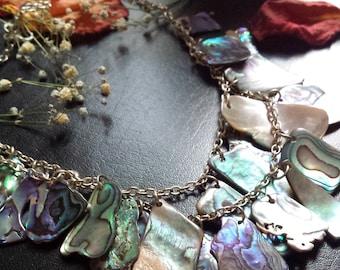 SALE Statement Paua shell layered necklace abalone ocean sea New Zealand Maori beach kiwi