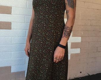 Olive Floral Square Neck Dress size 4 by JONES NEW YORK