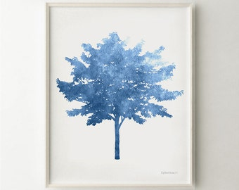 Blue artwork, Blue Tree art print, Blue wall print, Tree print, Blue print, Tree wall art, Blue PRINTABLE wall decor, Blue art, Nature decor