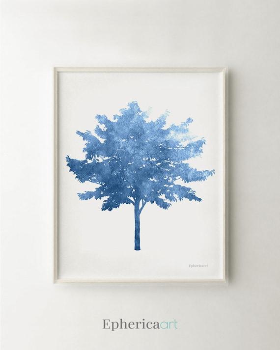 Blue Print Wall Decor : Blue artwork tree art print wall