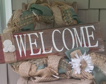 Hand painted welcome barn board sign
