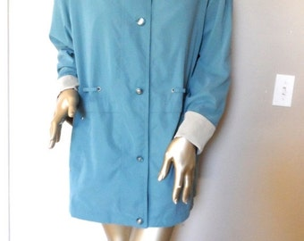 40% OFF Vintage 1990s Aqua Coat* BRAETAN Authentic Outerwear . Size Small . Made in Ukraine . Tan Contrast. Rain. All Weather Coat. 3 Quarte