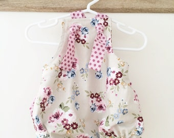 Pink Floral Romper , Baby Romper , Pink Romper , Floral Romper , Easter Dress , Baby Easter Dress , Easter Romper , Baby Girl Clothing
