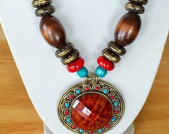 Ethnic Necklace, Brown Necklace, Beaded Necklace, Brown Statement Necklace, Native American Jewelry,Indian Jewelry, Indian Necklace, Boho