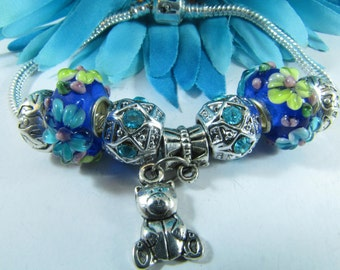 European Style Sterling Blue Flower Murano Glass Beads With Bear Charm