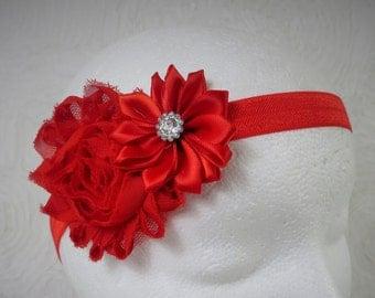 Red Baby Headband, Baby Girl Headband, Baby Flower Headband, Newborn Headband, Little Girl Headband, Red Flower Headband, Shabby Chic