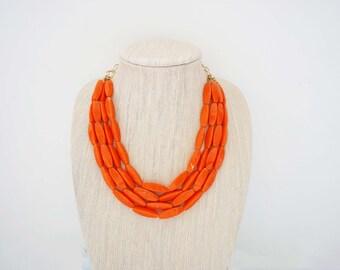 Orange Beaded Statement Necklace