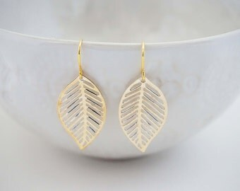 Delicate Gold Leaf Earrings