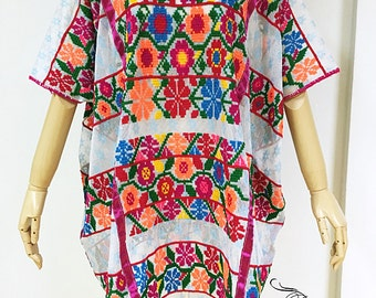 Vintage Mexican Mexico hand embroidered hupil dress, hand cross stitch embroidery poncho, boho hippie ethnic colorful flower