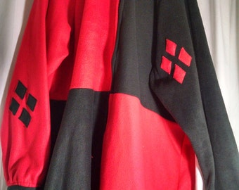 Hooded Adult Onesie Pajamas with snap up inseam - red & black harlequin
