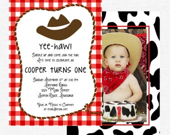 Cowboy Cowgirl Birthday Party Invitation Cowboy boots Giddy Up gingham cow print-FREE SHIPPING or DIY printable