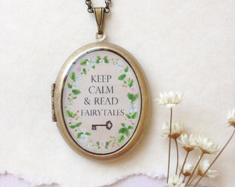 Keep Calm and Read Fairytales Locket - Flowering Vine with Quote and Key - Botanical Brass Photo Locket Necklace