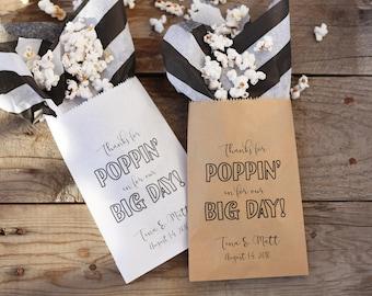 Thanks for Popping By Favor Bags - Custom Popcorn Bar Favor Bags   Wedding or Bridal Shower Favor