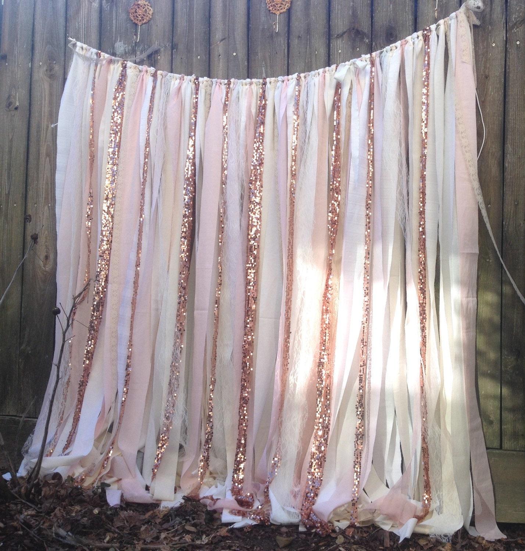 Rose Quartz Garland Gold Wedding Backdrop 7 Ft Long Blush