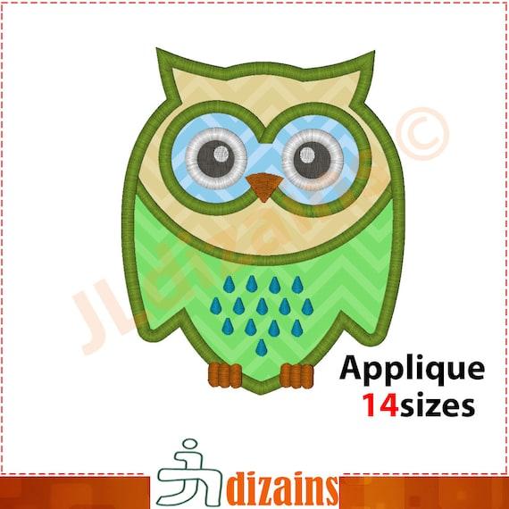 Owl applique design embroidery