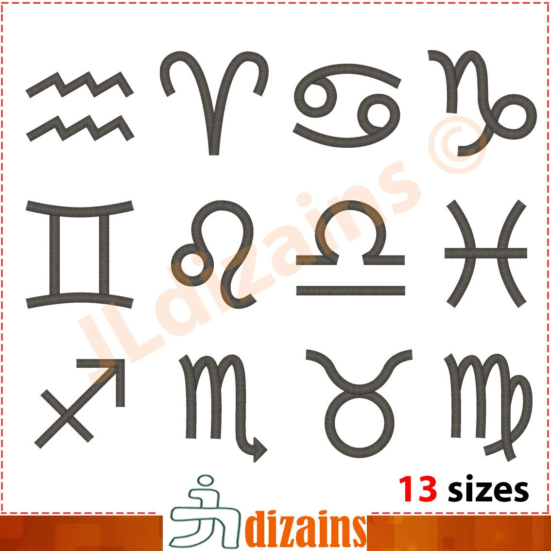 Zodiac signs embroidery design set horoscope symbols