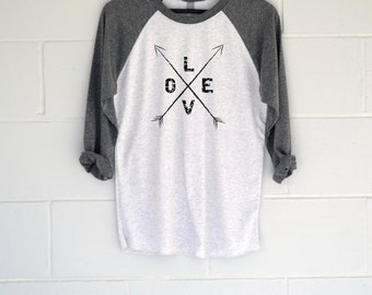 Love Arrows Baseball T-Shirt.  Womens Top.  Shirt.  Tee.  Christmas Gift