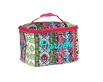 Monogrammed Boho Bohemian Multicolor Cosmetic Bag - Personalized with Name or Initials
