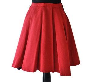Red Pleated Skirt // Vintage Full Skirt // 1950's Circle Skirt // Skater Skirt // Size Medium