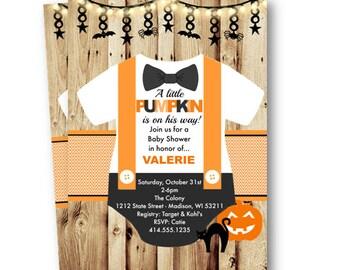 Halloween Baby Shower Invitation Little Pumpkin Rustic Onesie  cute and spooky printed or printable orange purple green black bow tie bowtie