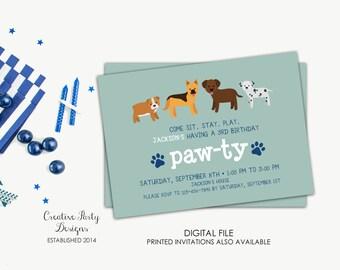 Dog Birthday Invitation, Puppy Birthday Invitation, Pawty Birthday Theme, Puppy Invitation, Dog Invitation, Boy Invitation, Dog Printable
