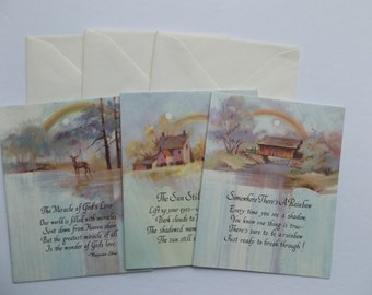 Set of 3  Vintage Get Well Cards, Religious Get Well cards, Inspirational cards, vintage greeting cards